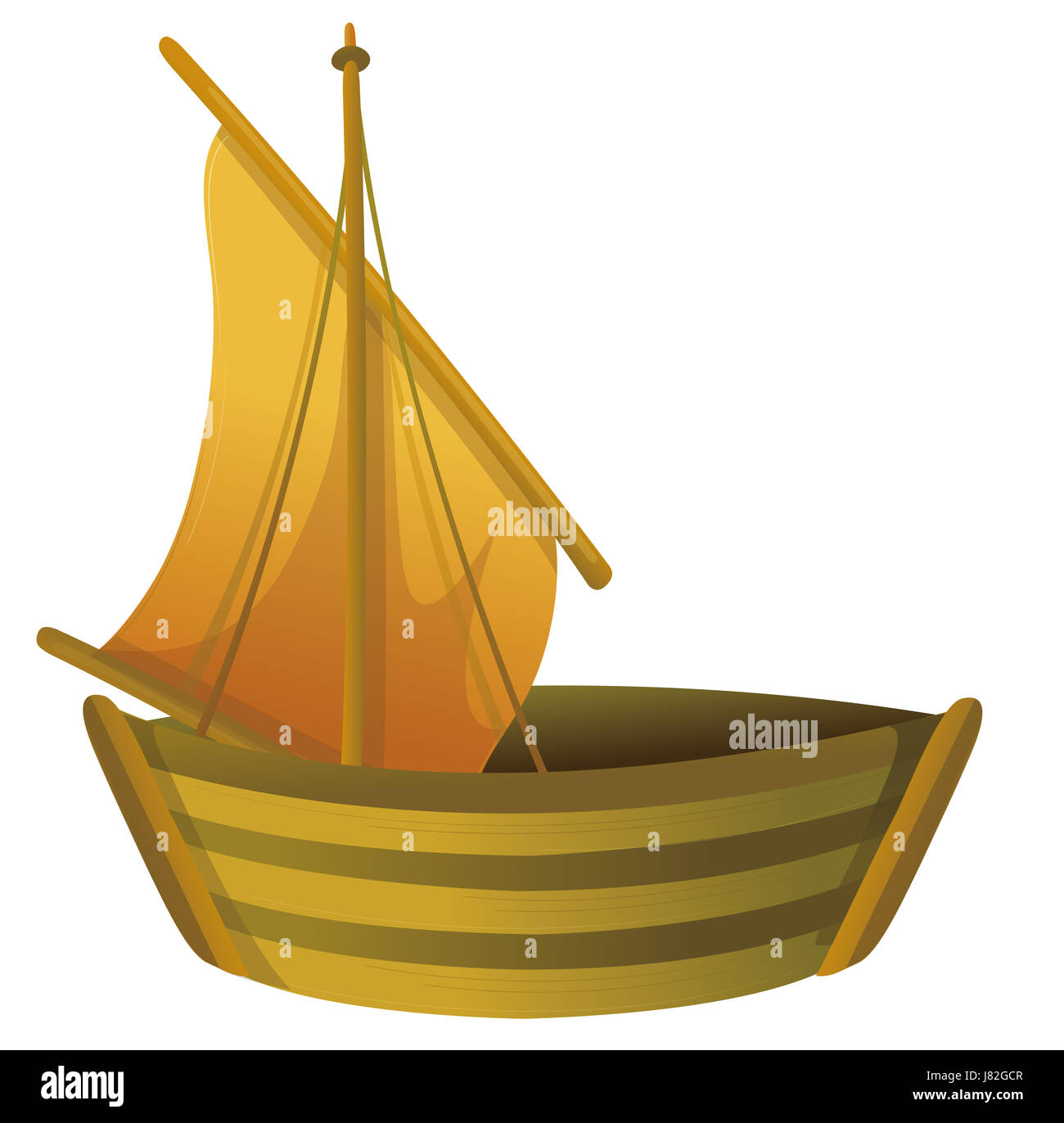 wood toy boat ship rowing boat sailing boat sailboat watercraft objects - Stock Image