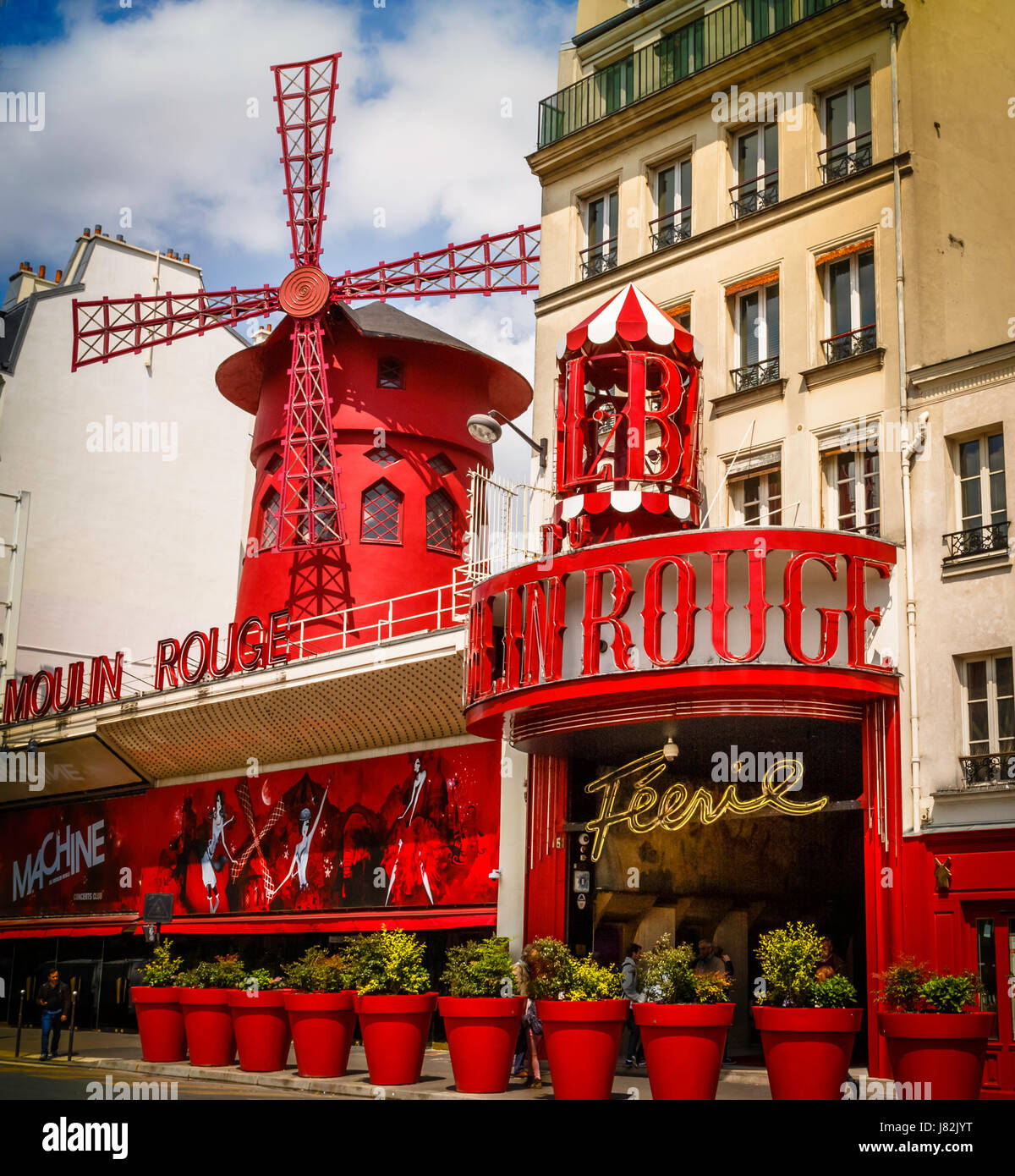 Le Moulin Rouge is a famous night club cabaret in Paris. The original Moulin opened in 1889, burned down in 1915, - Stock Image
