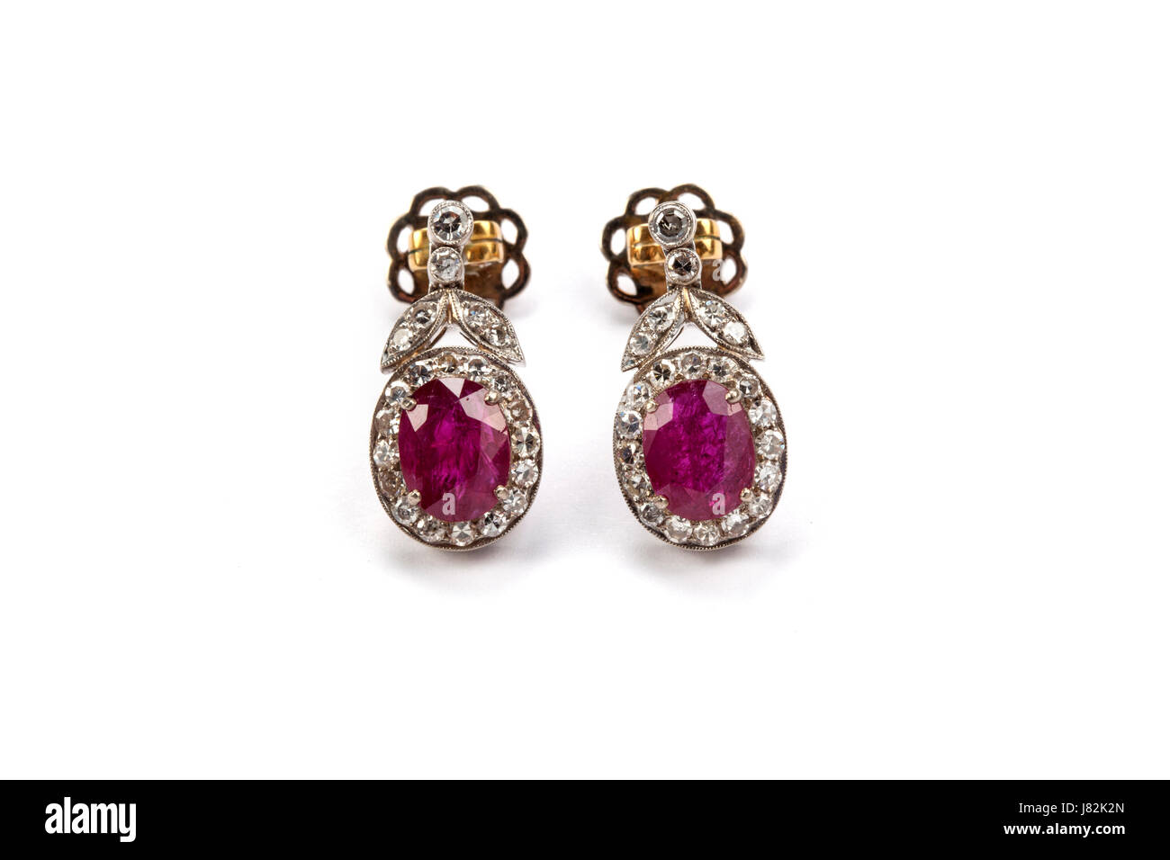 A pair of ruby and diamond earrings valued at £5000 - Stock Image