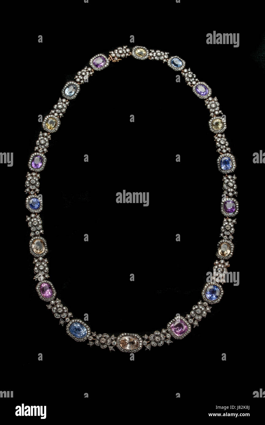 Early 20th century vari-coloured sapphire and diamond necklace. Estimated value over £30,000 - Stock Image