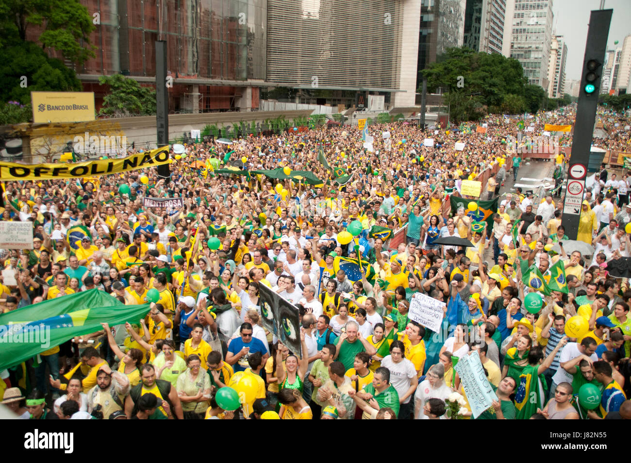 Protesters ask for impeachment in Brazil - Stock Image