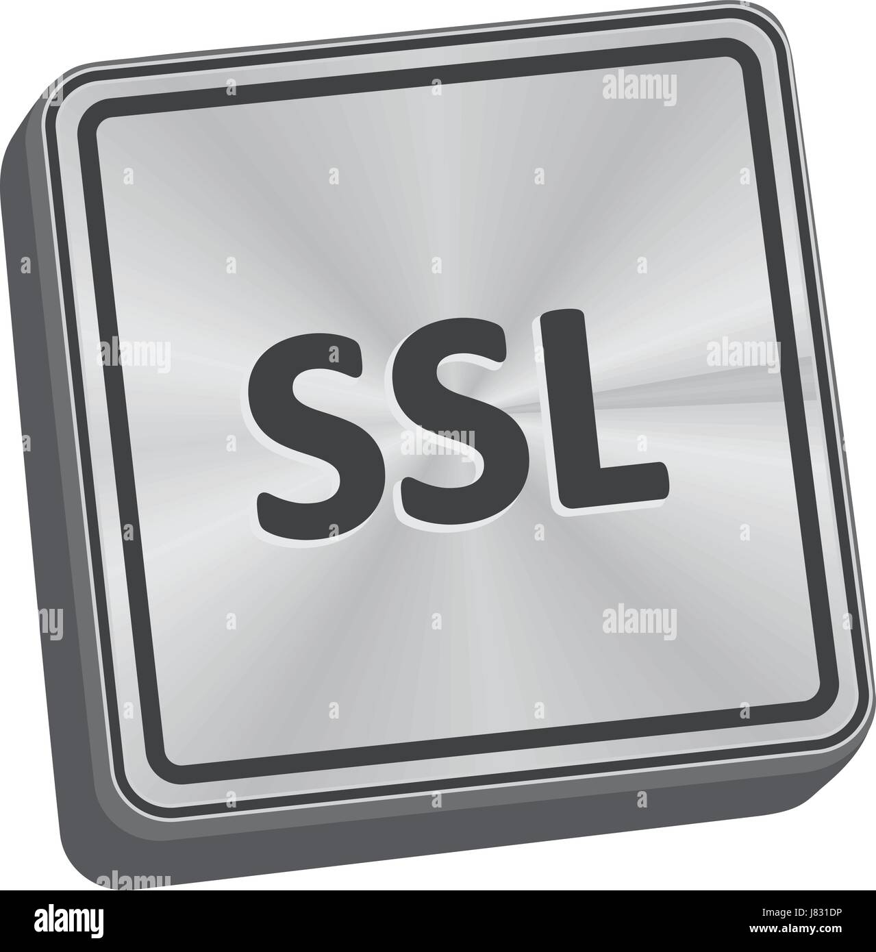 SSL button 3D key in brushed metal - Stock Image