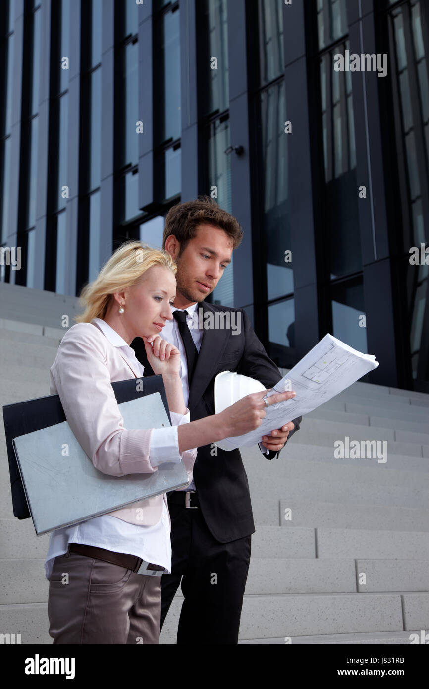 woman stairs model design project concept plan draft card team staff personnel - Stock Image