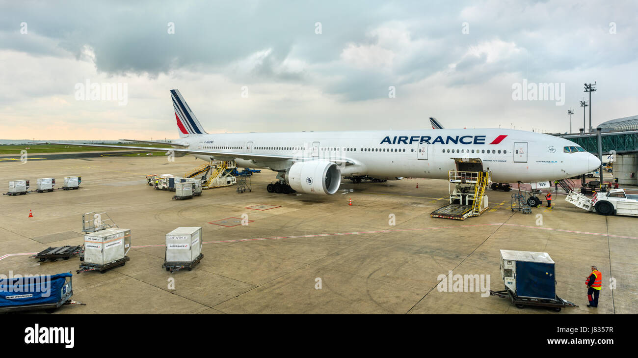 Air France Boeing 777-300ER at Charles de Gaulle Airport, France - Stock Image