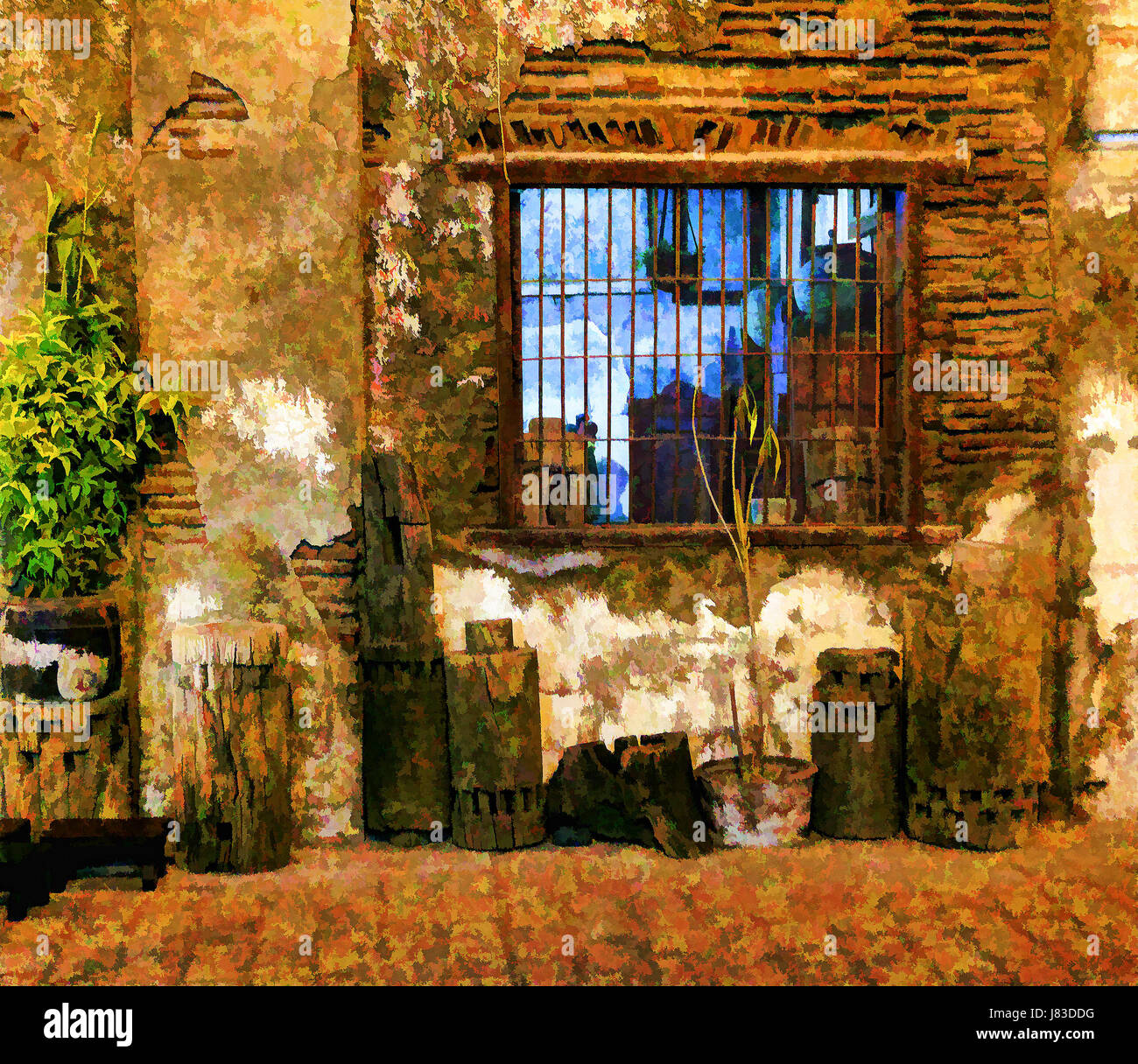 Photo illustration of an old Spanish building at Vigan City, Northern Luzon Island, Philippines. - Stock Image
