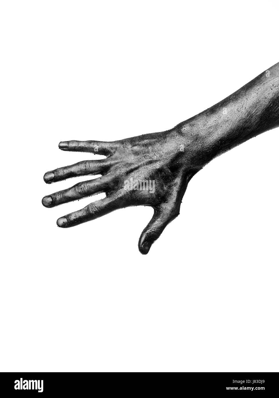 hand isolated black swarthy jetblack deep black dirty sticky anatomy ...
