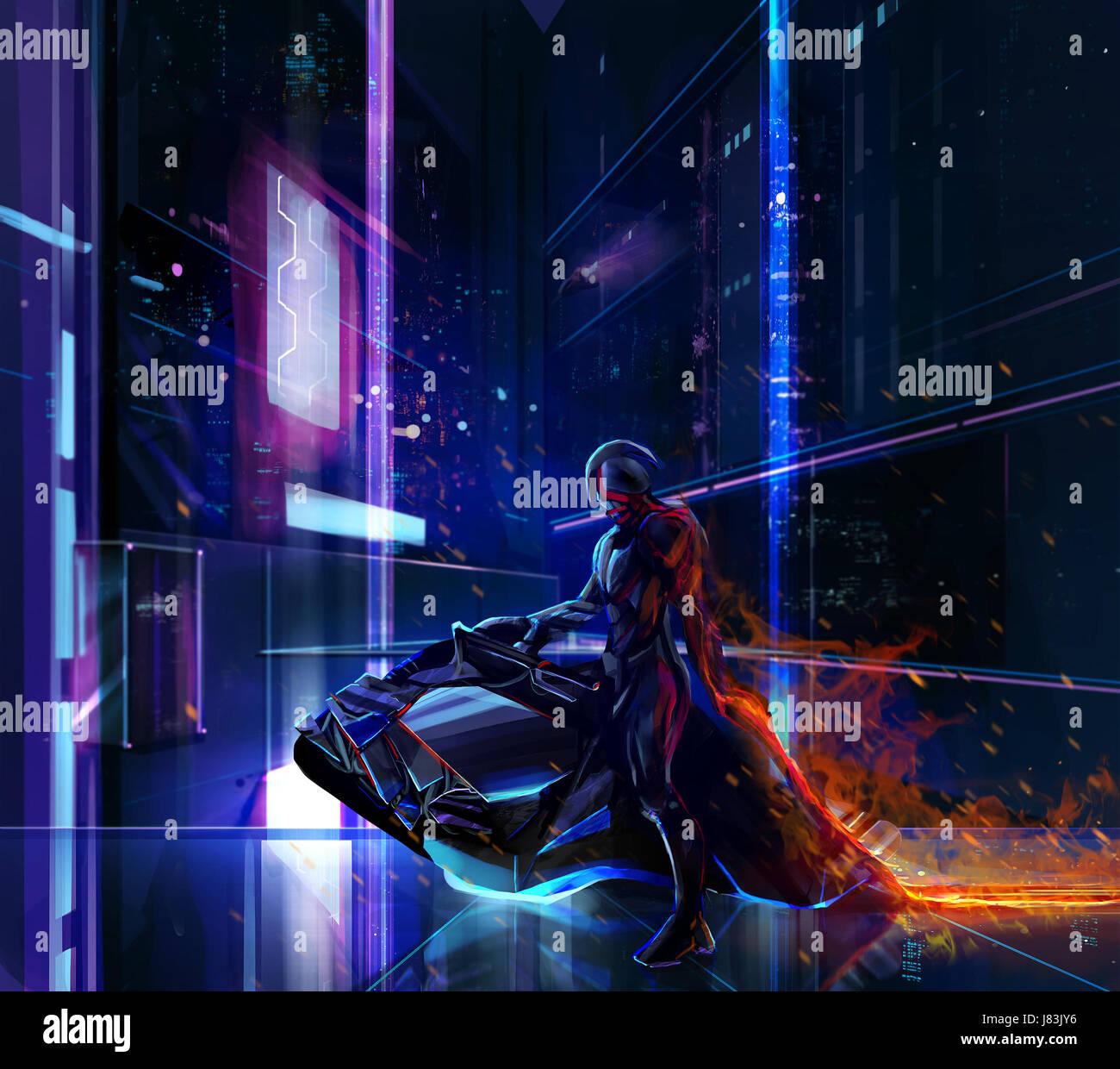 sci fi neon warrior on bike sci fi neon warrior on futuristic bike