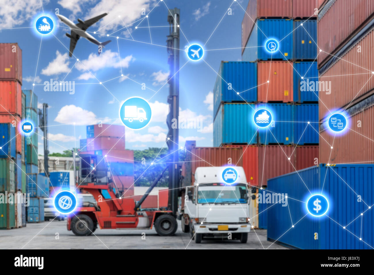Global business connection technology interface global partner connection of Container Cargo freight truck for logistic - Stock Image