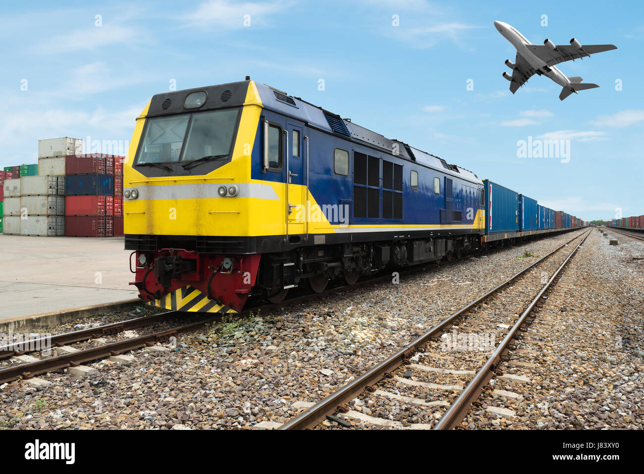 Cargo train platform with freight train container at depot use for Import, Export, Logistics background. Import, - Stock Image