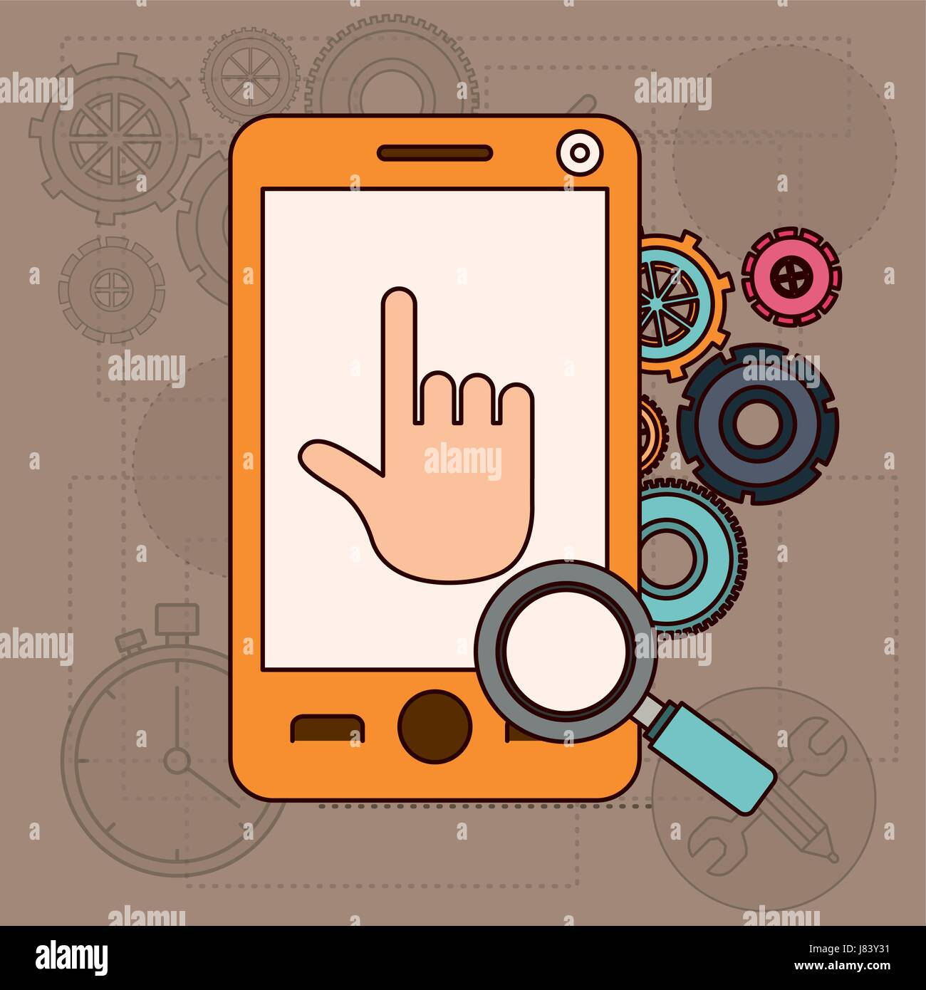 background with smartphone and tools for search - Stock Vector