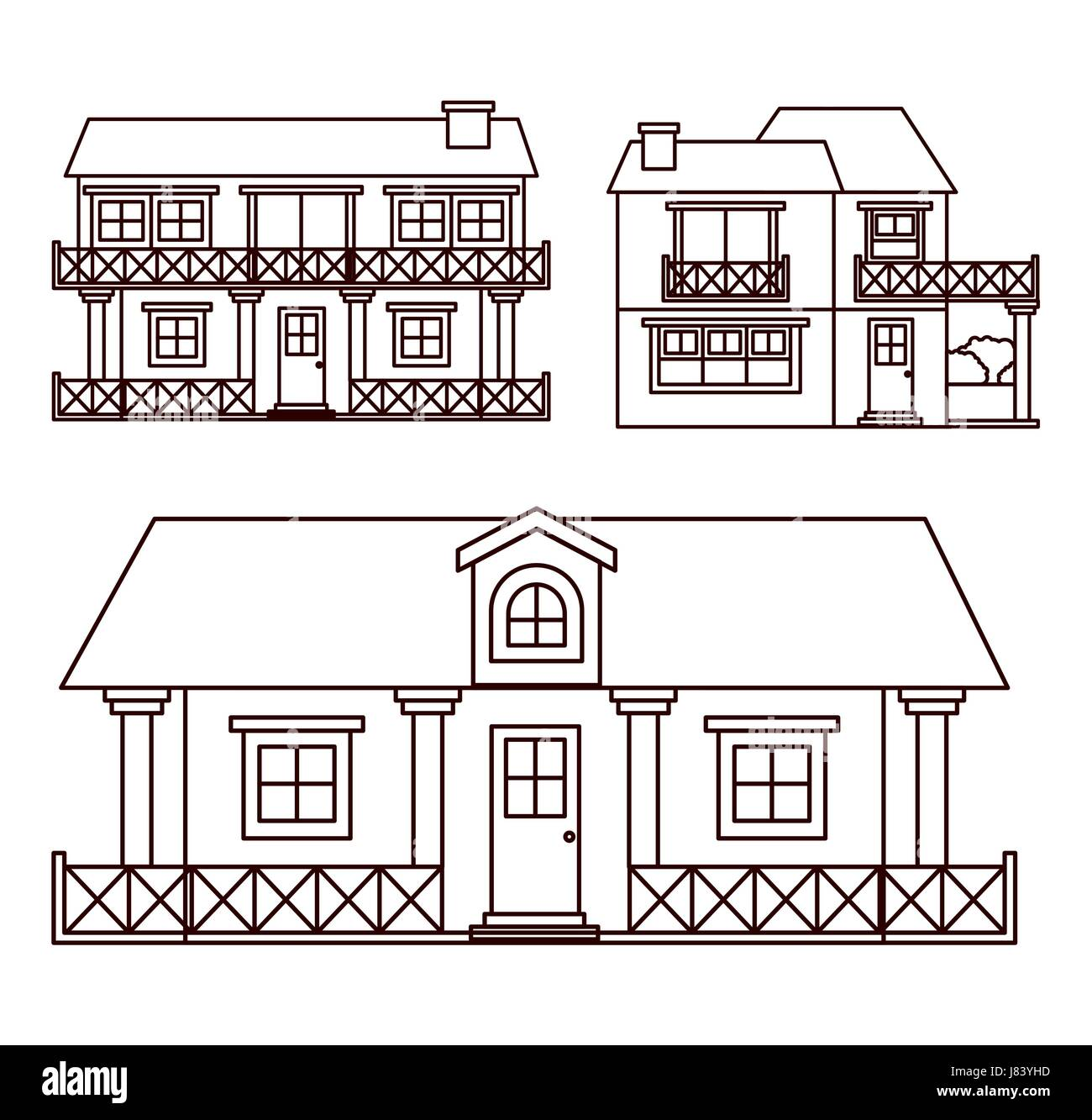 monochrome background with set of country houses facades - Stock Image