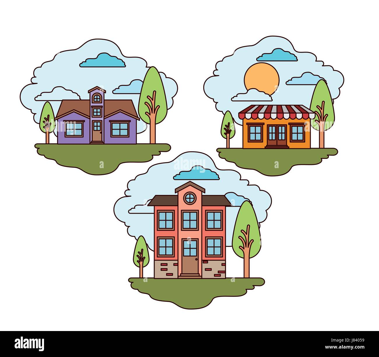 white background with set of rural houses scenes in sunny day - Stock Image