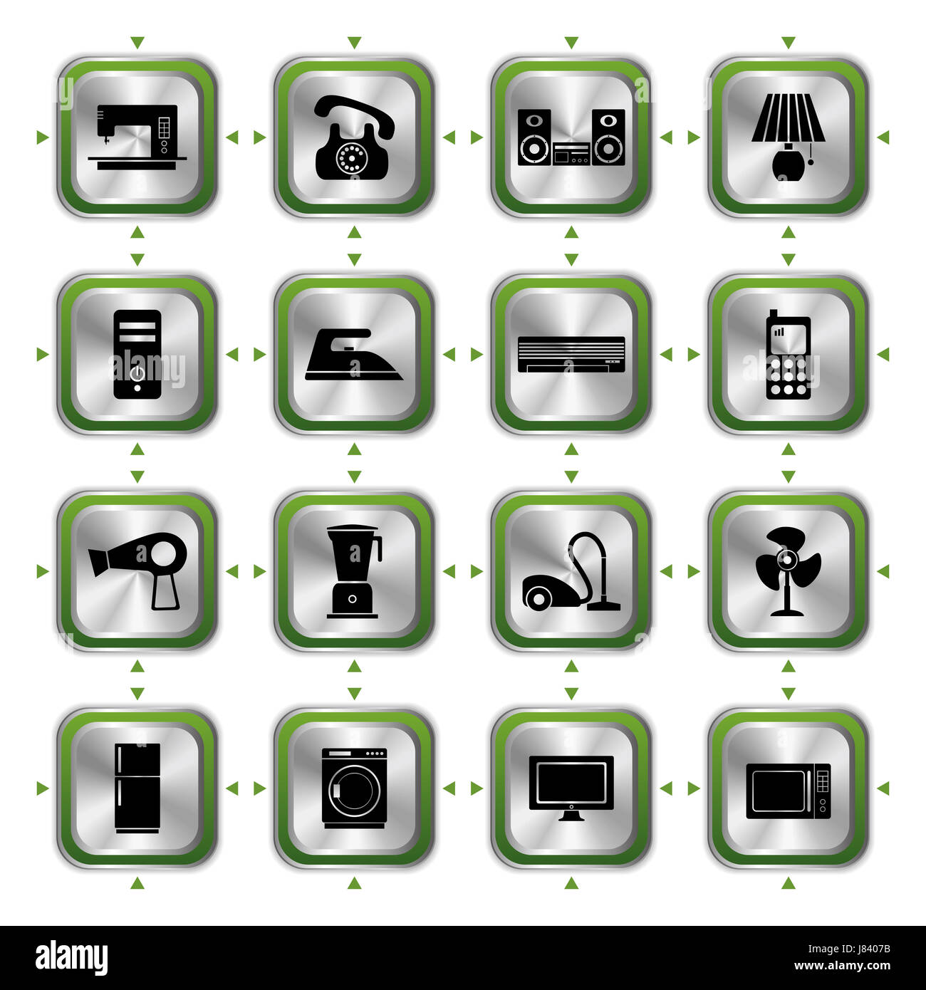 telephone phone industrial electrical icon set appliances computers computer Stock Photo