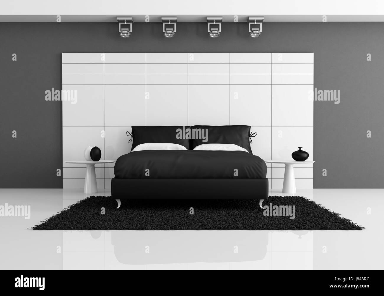 Furniture Bed Interior Black Swarthy Jetblack Deep Black