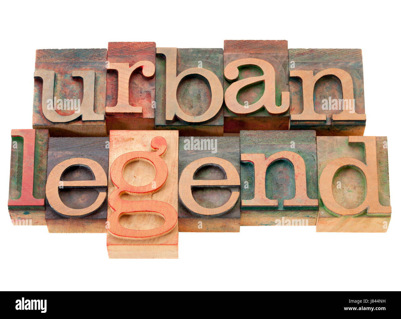 letterpress myth legend urban hoax type model build isolated wood vintage word - Stock Image