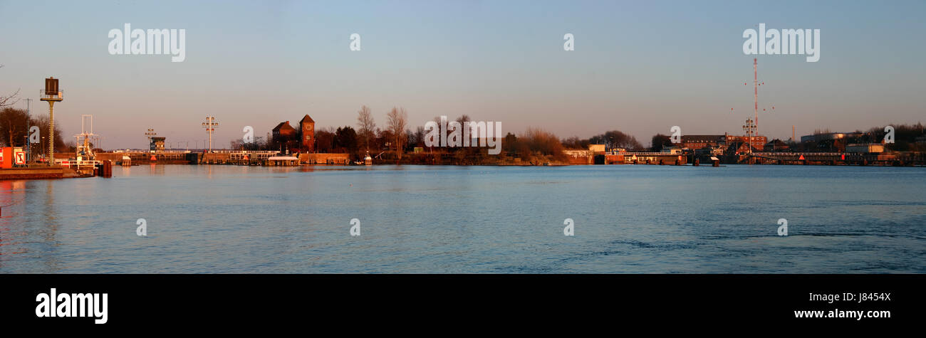 blue channel sight view outlook perspective vista panorama lookout keel germany Stock Photo