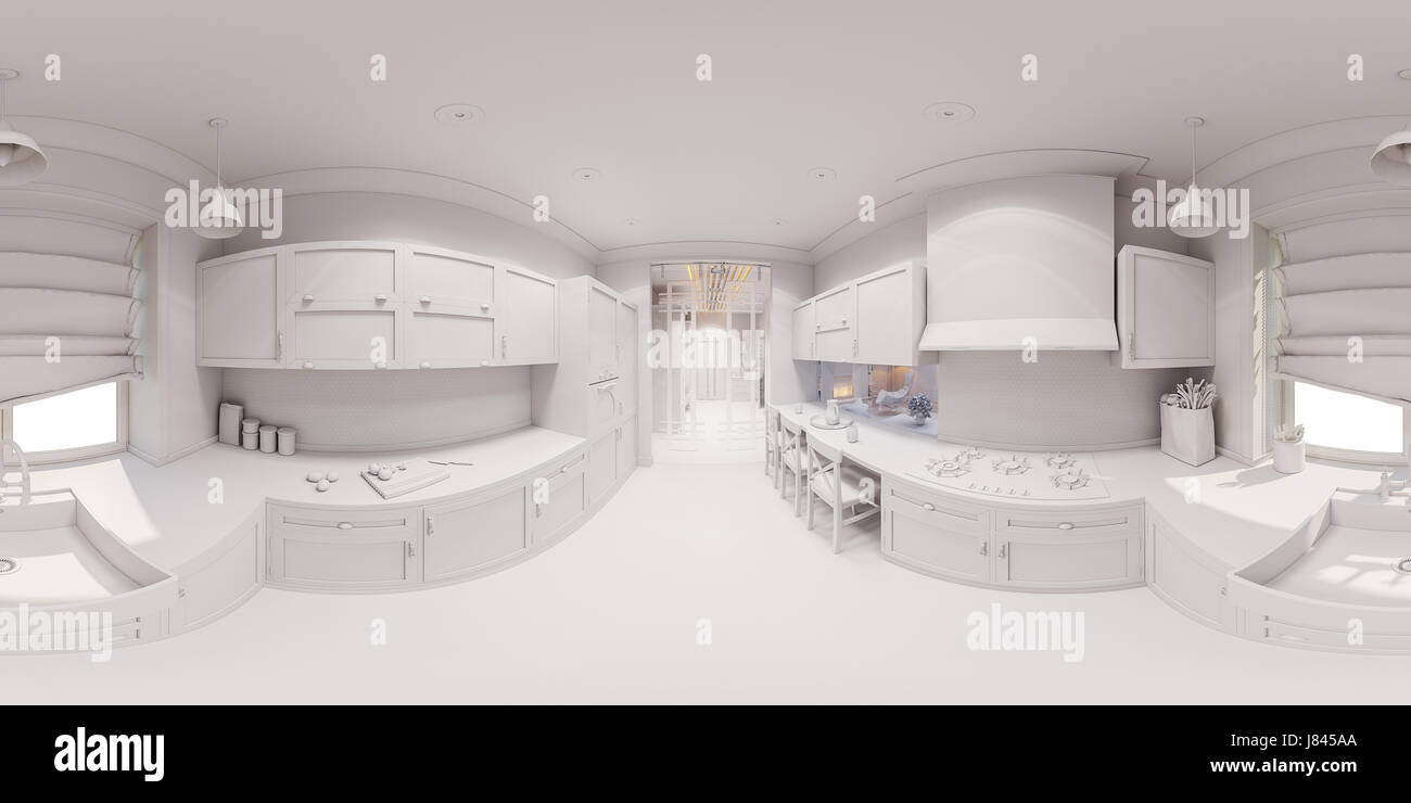 3d Illustration Of The Kitchen Interior Design In Scandinavian Classical  Style. Interior Without Textures And Materials. Visualization 360 Degree  Sphe