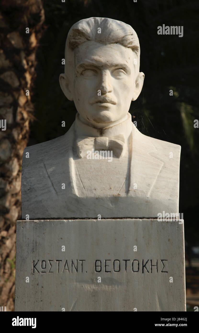 bust konstantinos theotokis kerkyra corfu - Stock Image