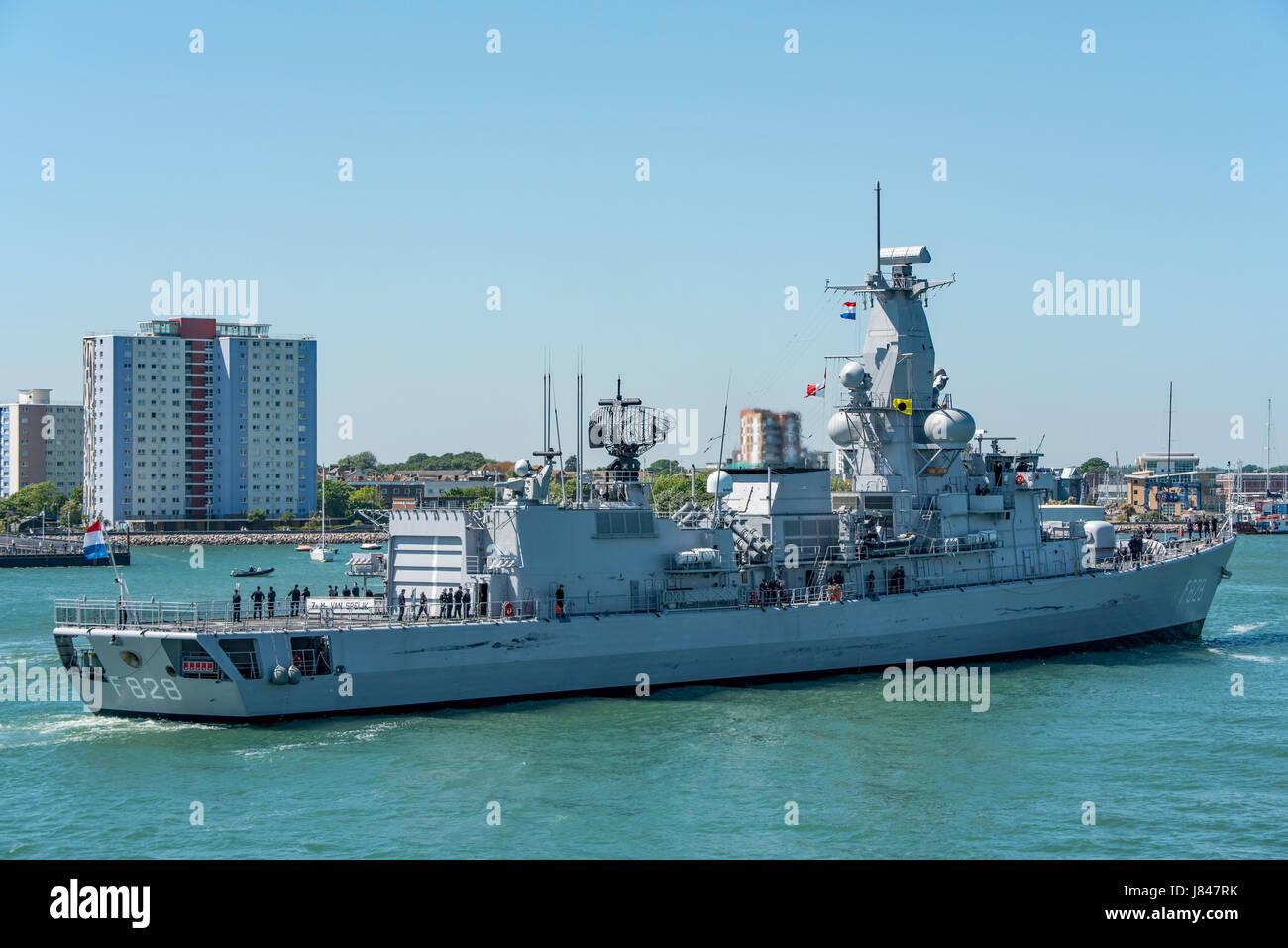 Dutch Navy (Koninklijke Marine) frigate HNLMS Van Speijk (F828) arriving at Portsmouth, UK on the 26th May 2017. - Stock Image