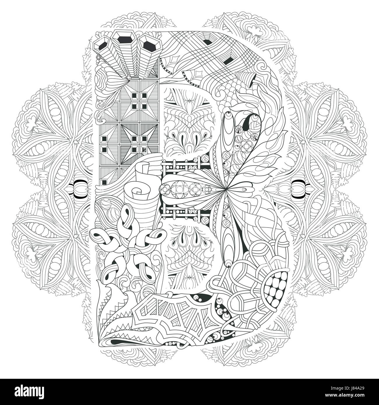 Adult Anti Stress Coloring Page Black And White Hand Drawn Illustration Mandala With Letter B For Book