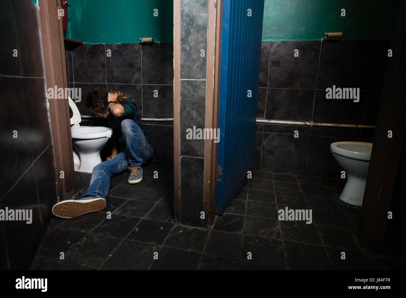 Guy and mature in the bathroom