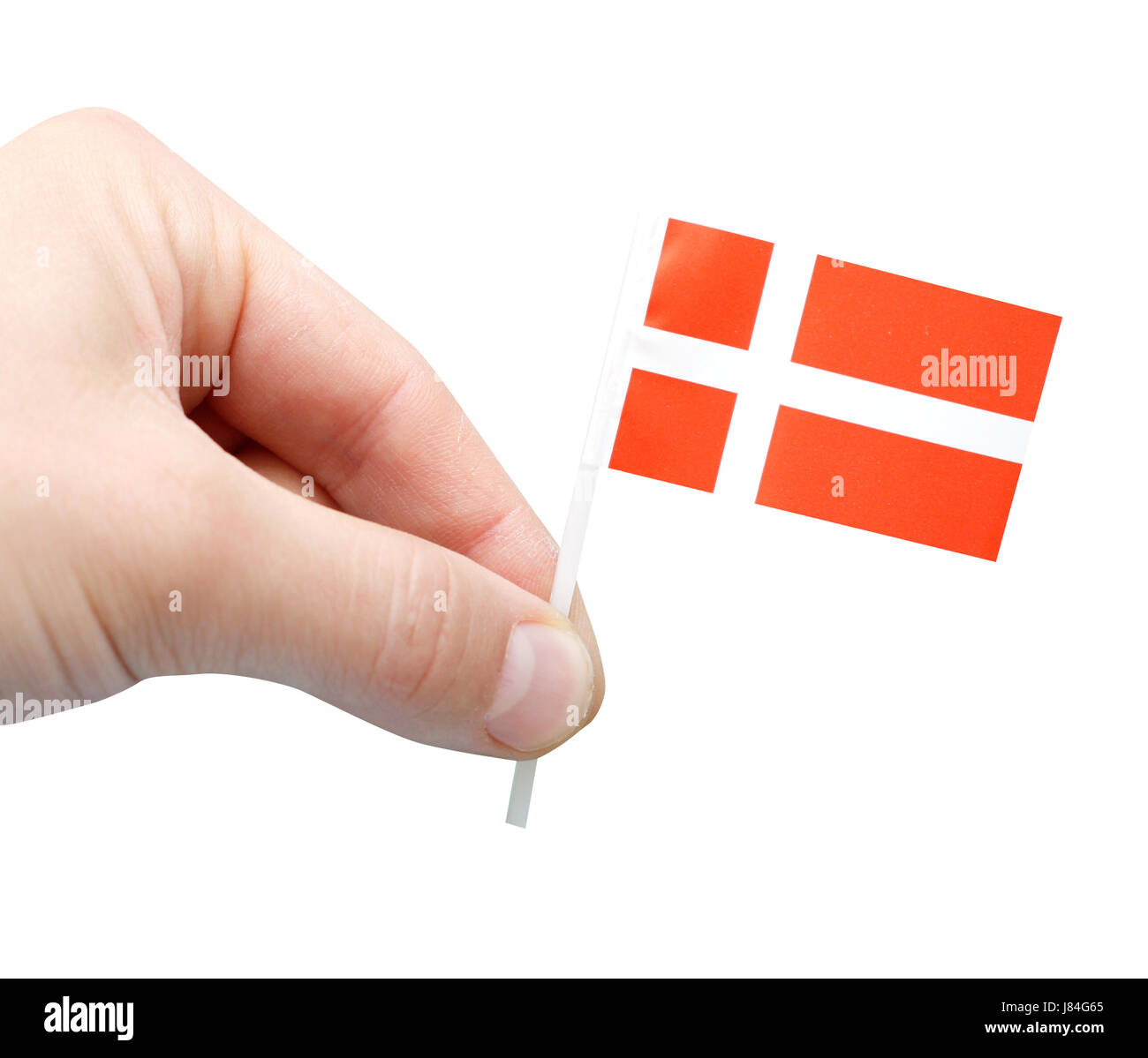 hand hands denmark small tiny little short flag miniature possession holding - Stock Image