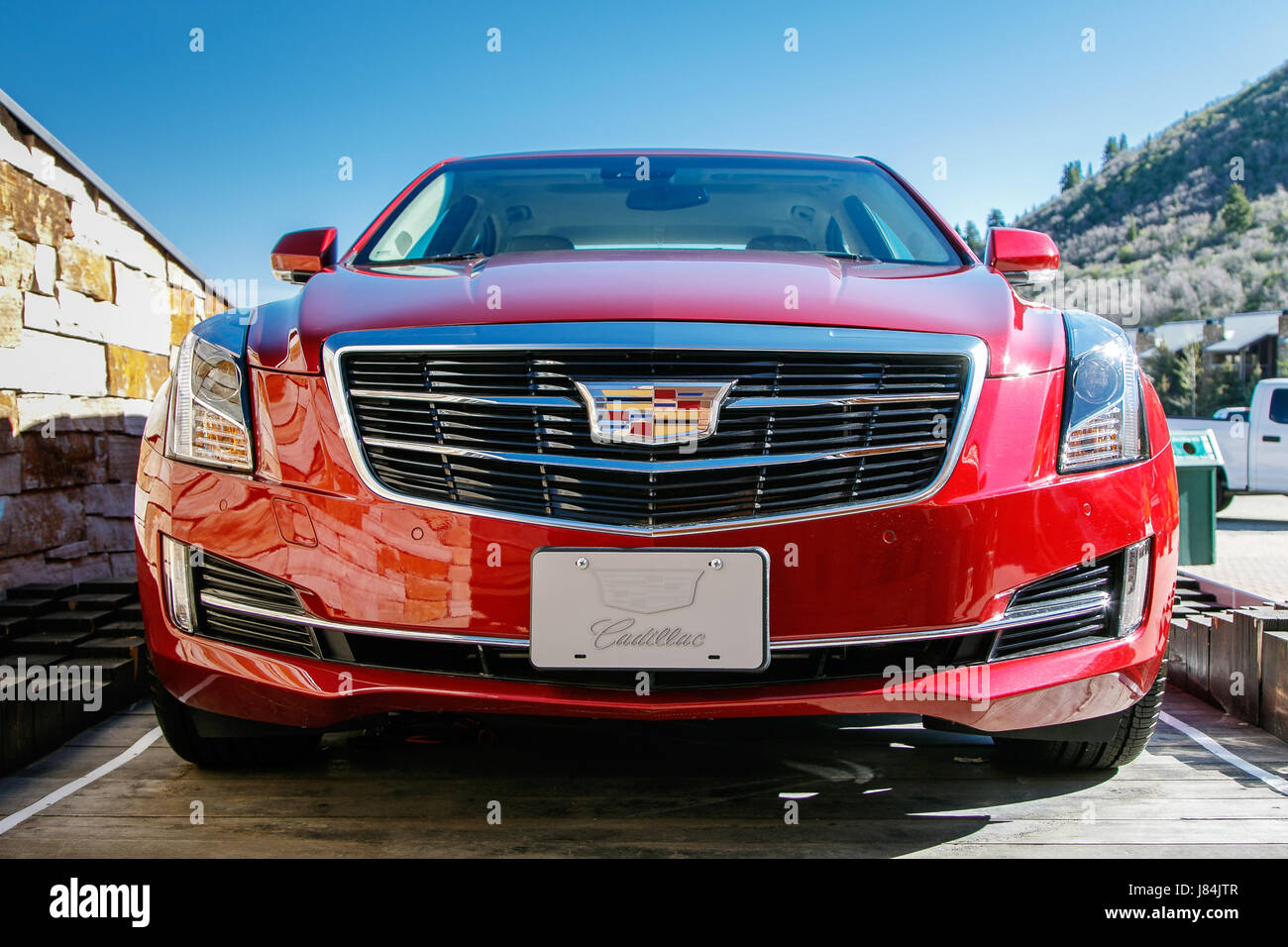 Park City Ut May 12 2017 Brand New Cadillac Is Displayed At The