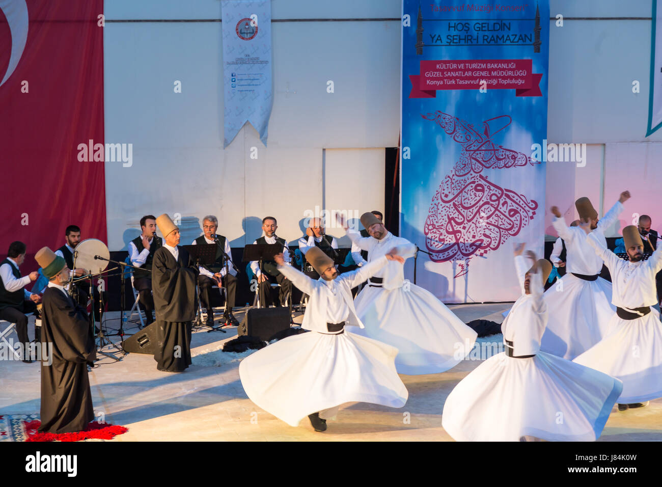 At Marmaris amphitheater in Marmaris, Mugla, Turkey - May 26, 2017 : Whirling dervishes show and religious music - Stock Image