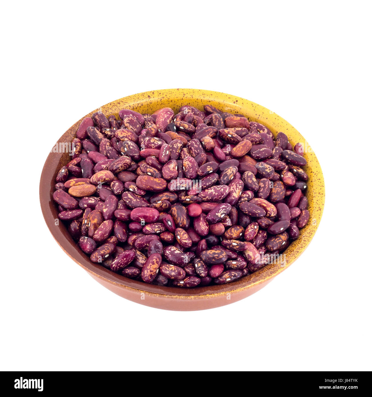 Canned Red Kidney Beans In ceramic Bowl isolated on white background Stock Photo