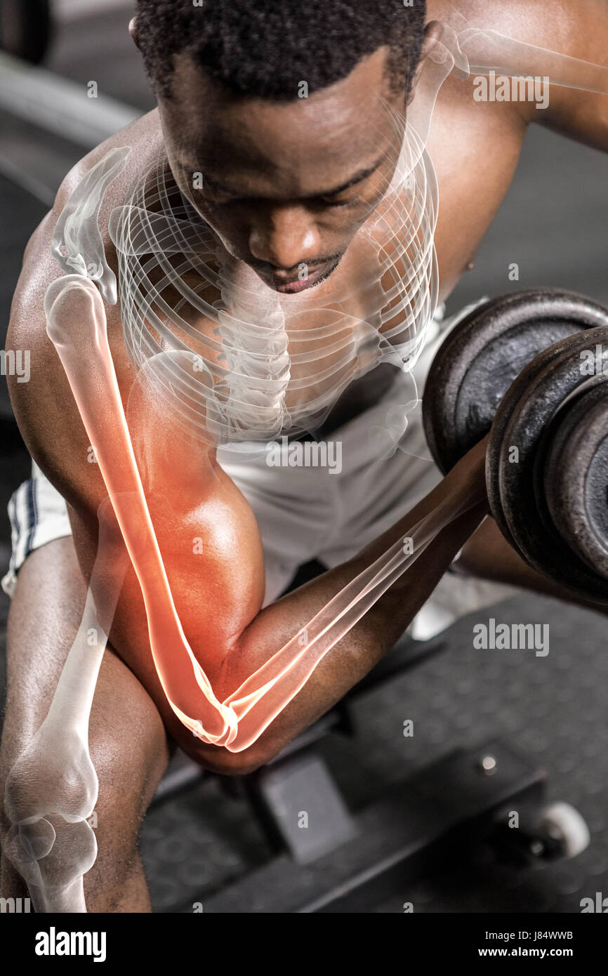 Shirtless athlete doing excercise with dumbbells at gym - Stock Image