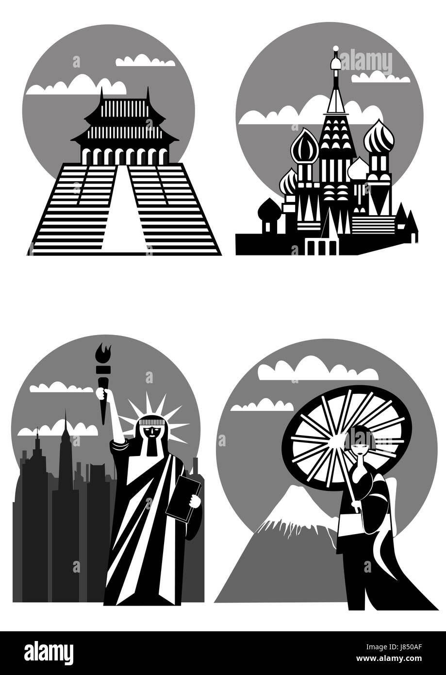 usa japan statue of liberty sign logo new york moscow house building tower - Stock Image