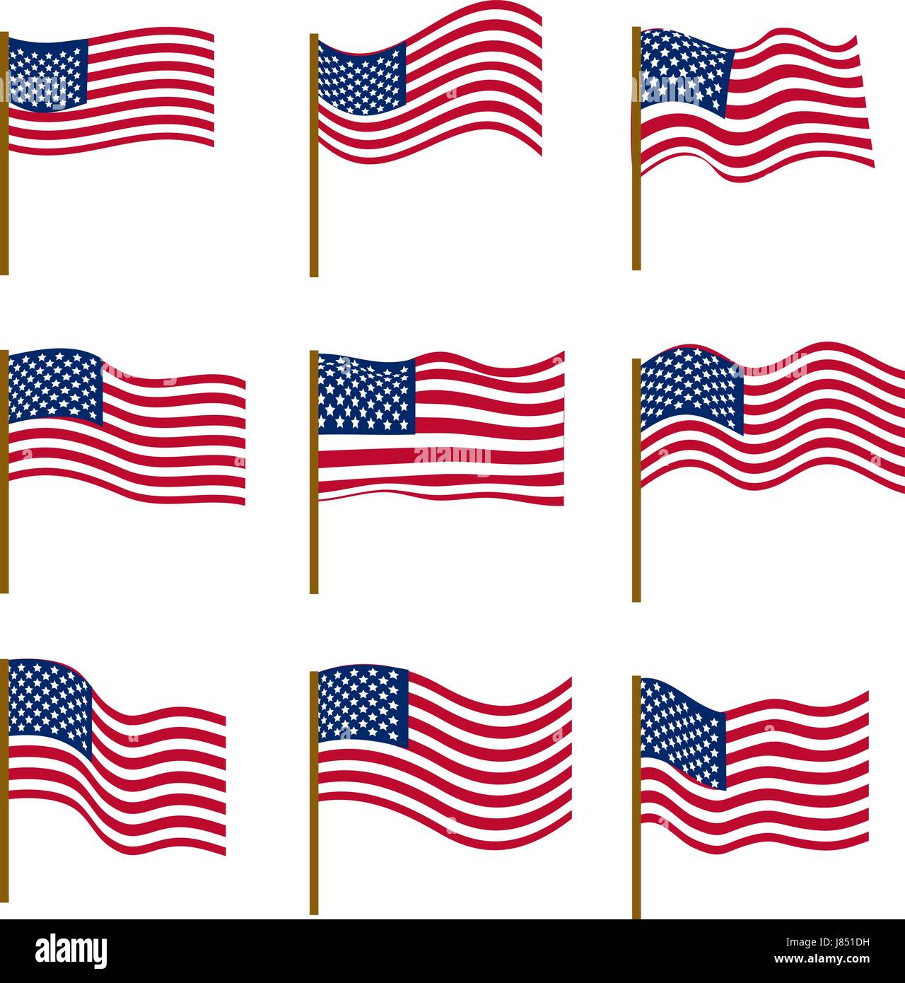 5b1942dab8e3 Set of flags of United States of America isolated on white background.  Independence Day