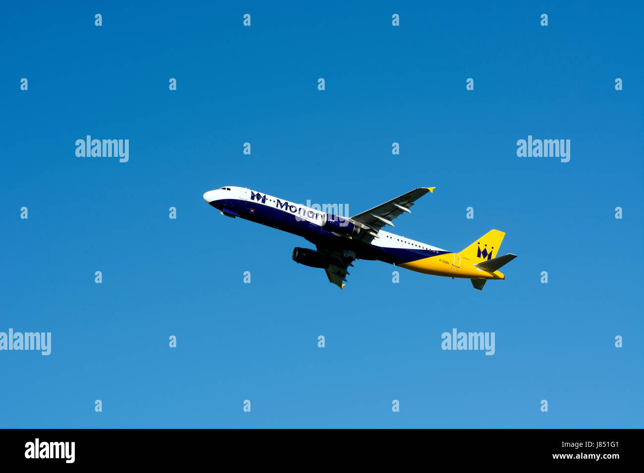 Monarch Airlines Airbus A321 taking off at Birmingham Airport, UK (G-OZBH) Stock Photo