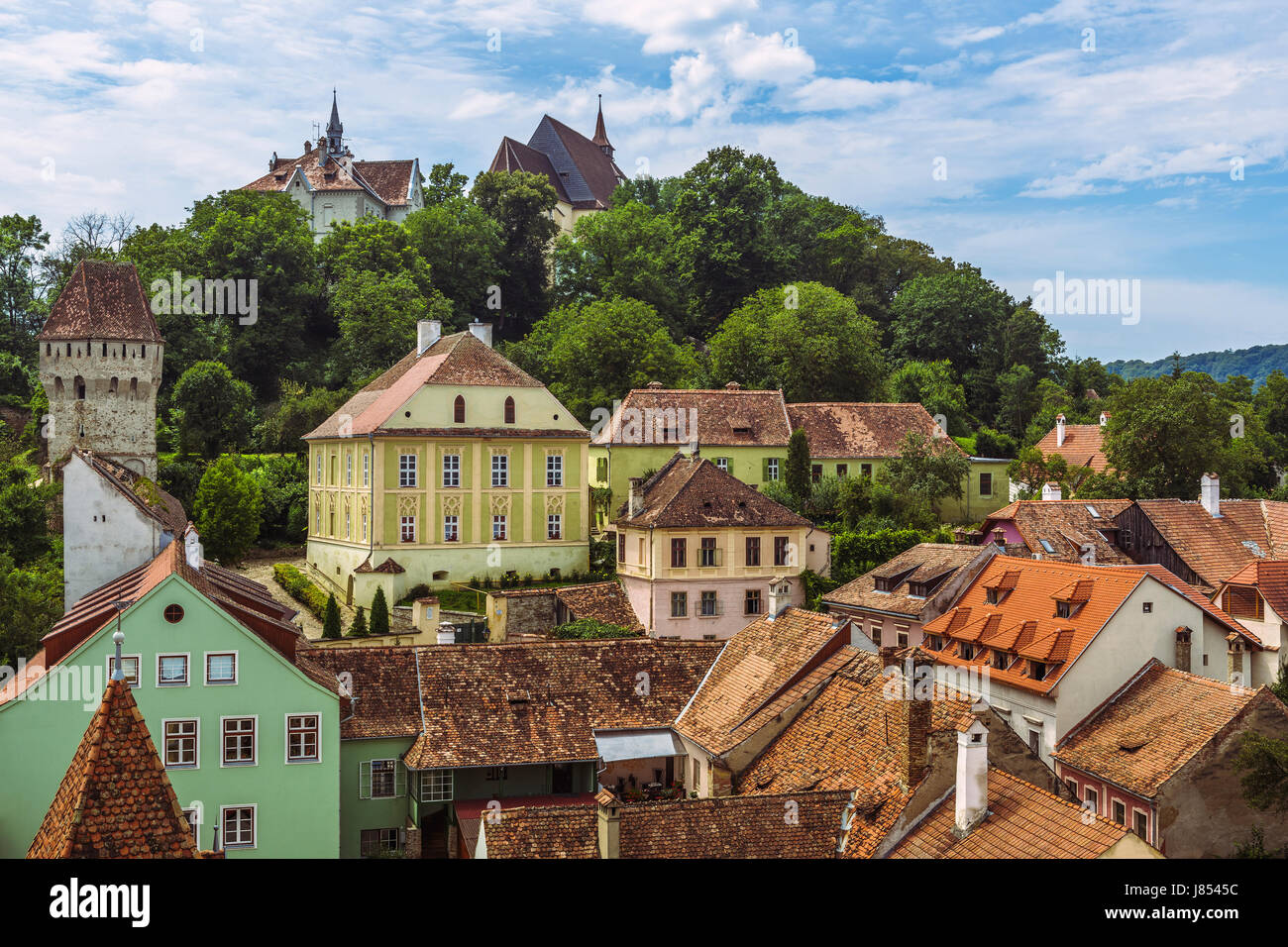 Medieval citadel on the hill above the old Lower Town of Sighisoara city, Romania, one of the most beautiful and - Stock Image