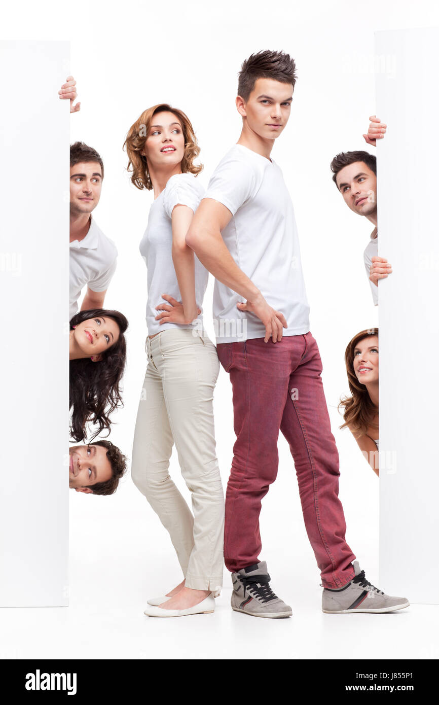 face banner advertise adverts wooing ad advertising backdrop background - Stock Image