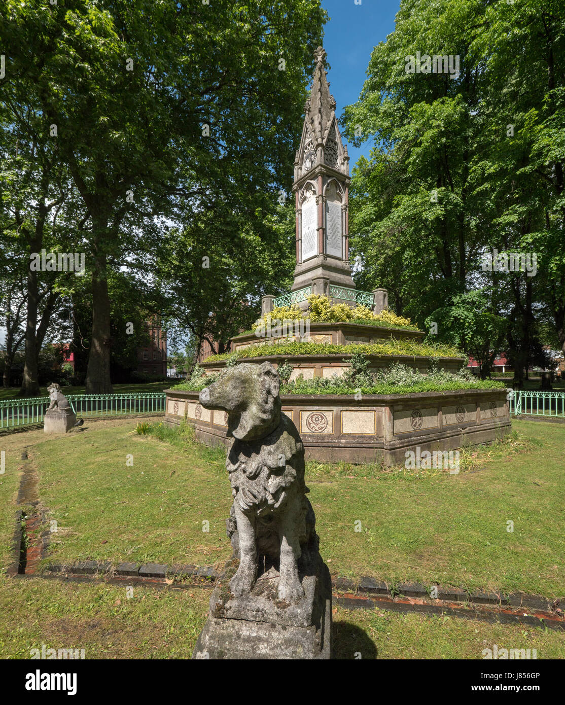 Memorial to Angela Burdett-Coutts, a wealthy 19th century aristocratic philanthropist in St Pancras Old Church cemetery Stock Photo
