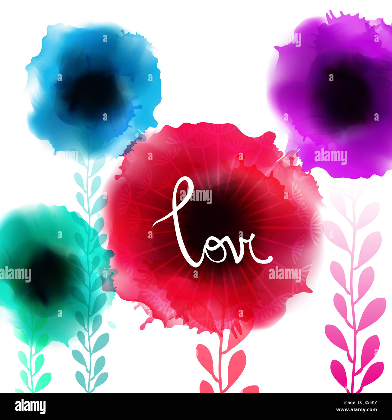 Watercolor romantic blooming poppy flowers isolated vector illustration Summer template for wedding, valentine day, - Stock Image
