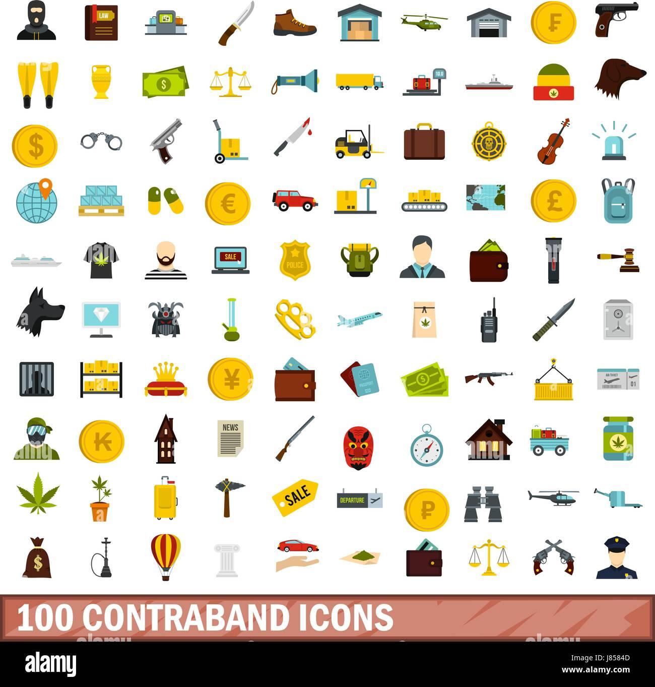100 contraband icons set, flat style - Stock Image