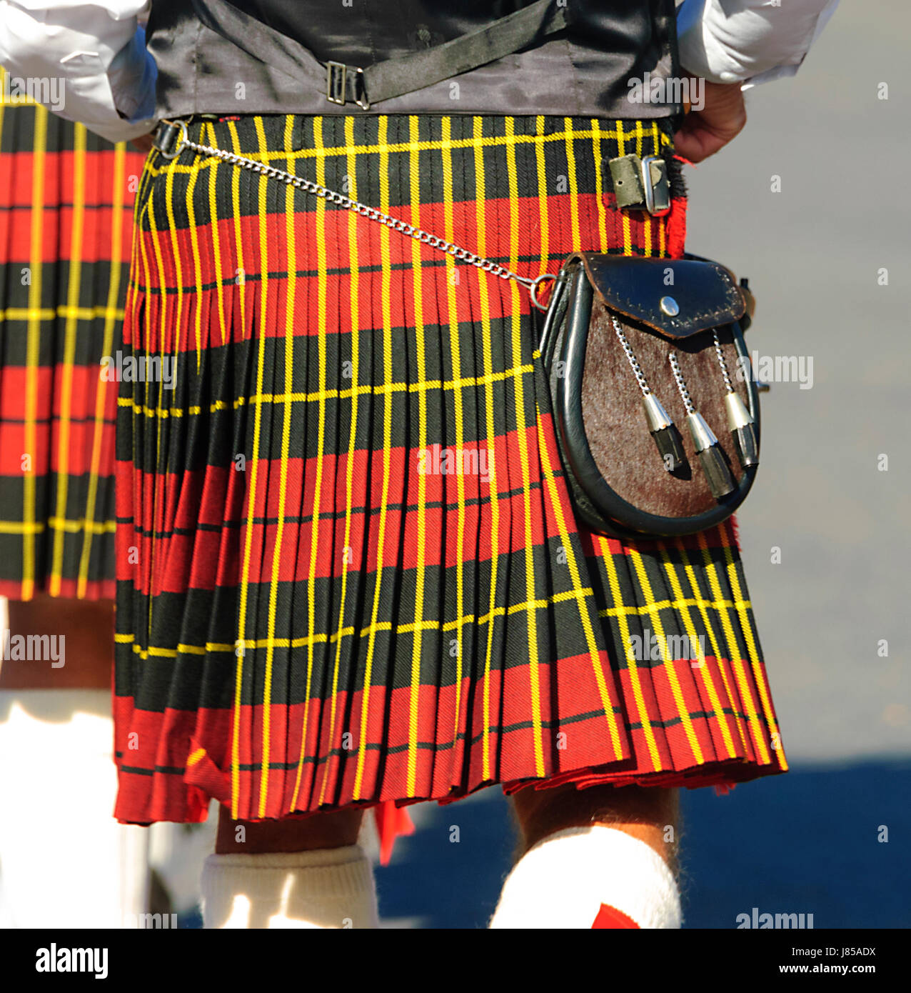 Scottish kilt and Sporran - Stock Image