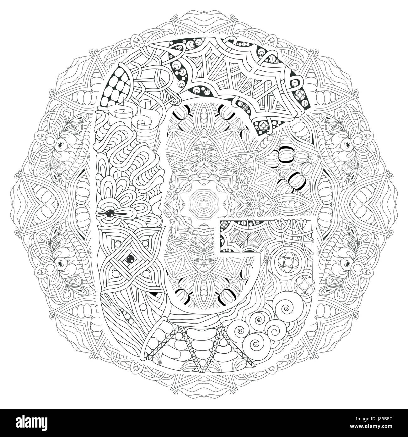 Hand Painted Art Design Adult Anti Stress Coloring Page Black And