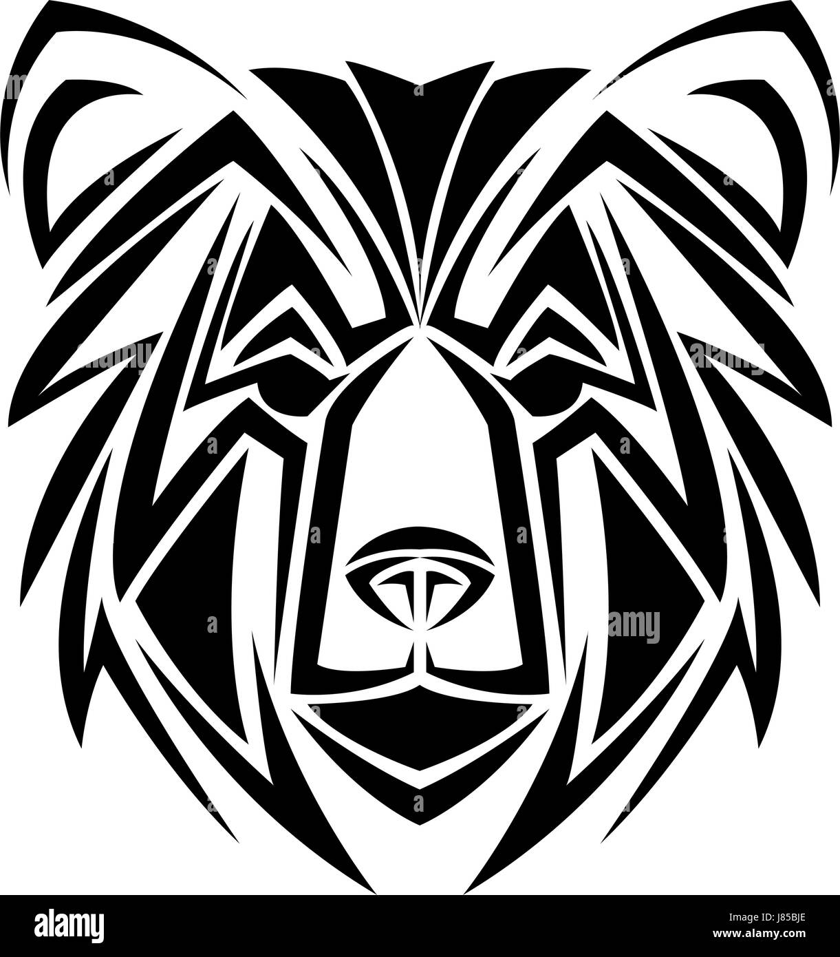 bear tribal tatto animal creativity design - Stock Image