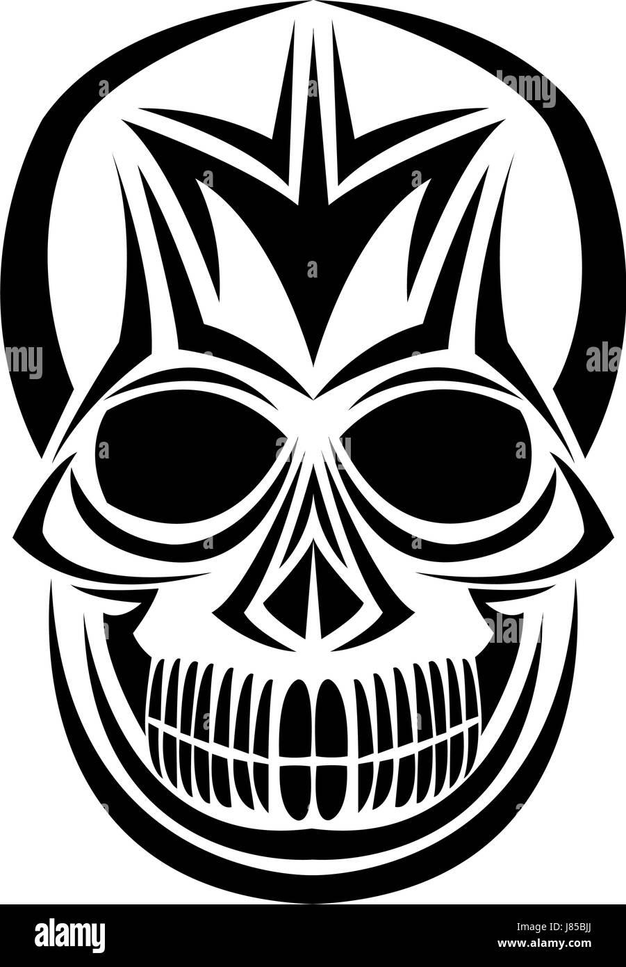 skull tribal tattoo bohemian decoration image - Stock Image