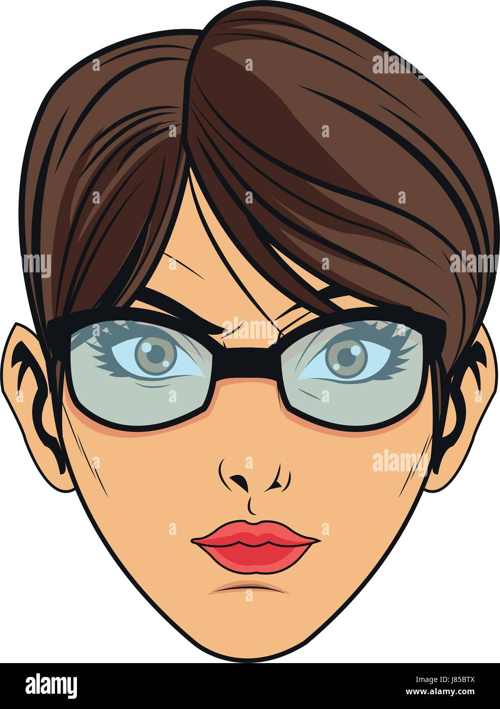 Beauty Face Woman With Glasses And Short Hair Comic Style Stock