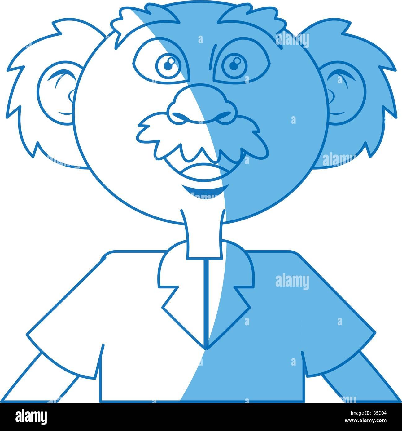 cartoon old professor man scientific with mustache bald - Stock Vector
