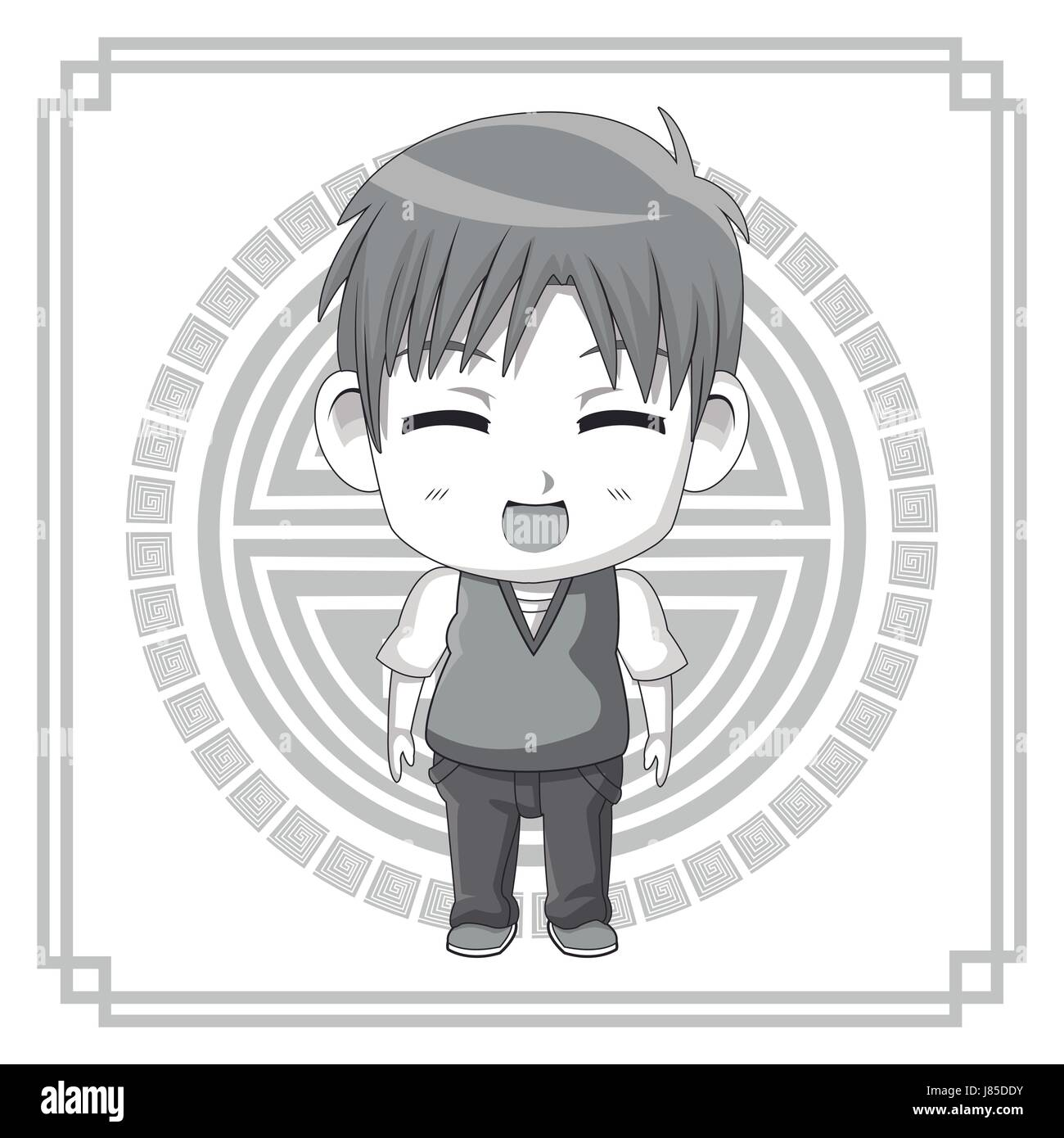 Monochrome Background With Silhouette Cute Anime Tennager Facial Stock Vector Image Art Alamy