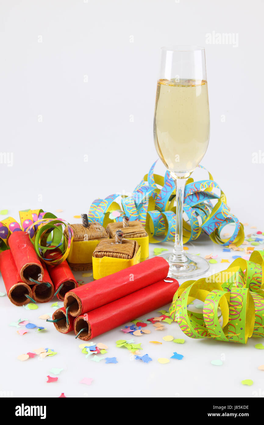 champagne silvester saluting gun firecracker firework fireworks holiday - Stock Image