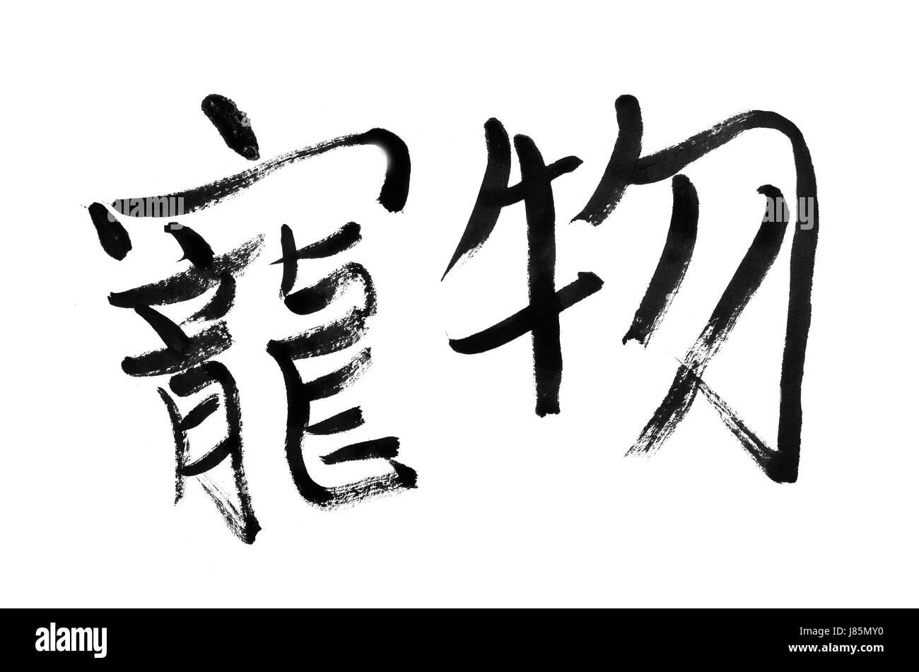 pet traditional oriental darling handwriting favourite write wrote writing - Stock Image