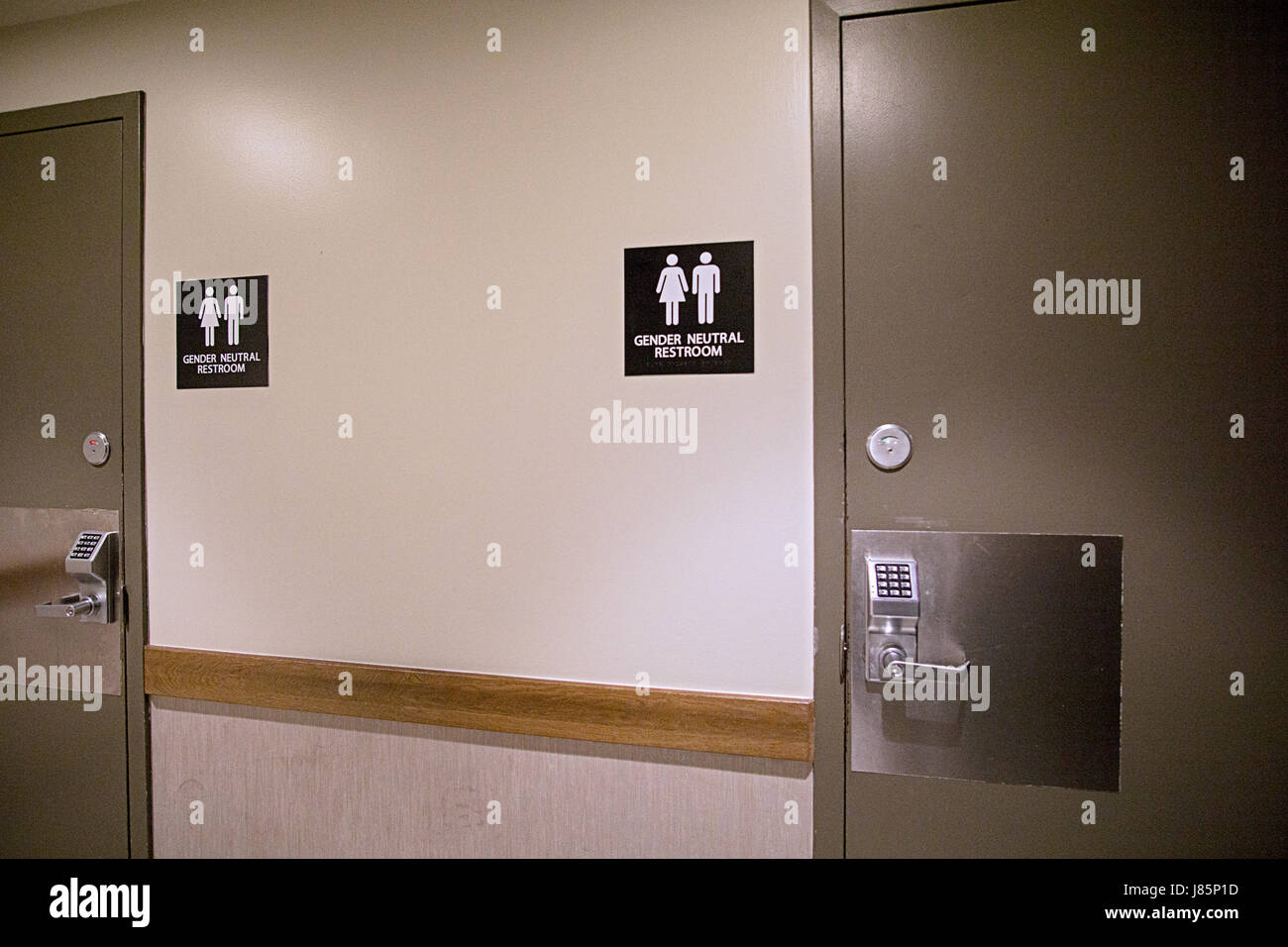 Gender neutral restrooms at Starbucks on Park Avenue and 34th Street in Manhattan, New York City. - Stock Image