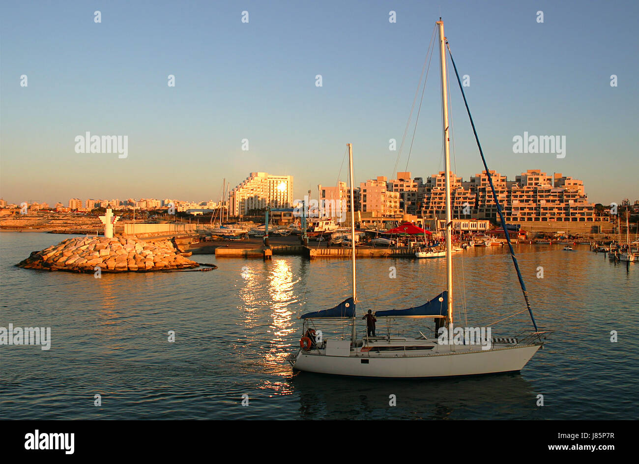 city town sunset evening yacht israel travel city town famous holiday vacation - Stock Image
