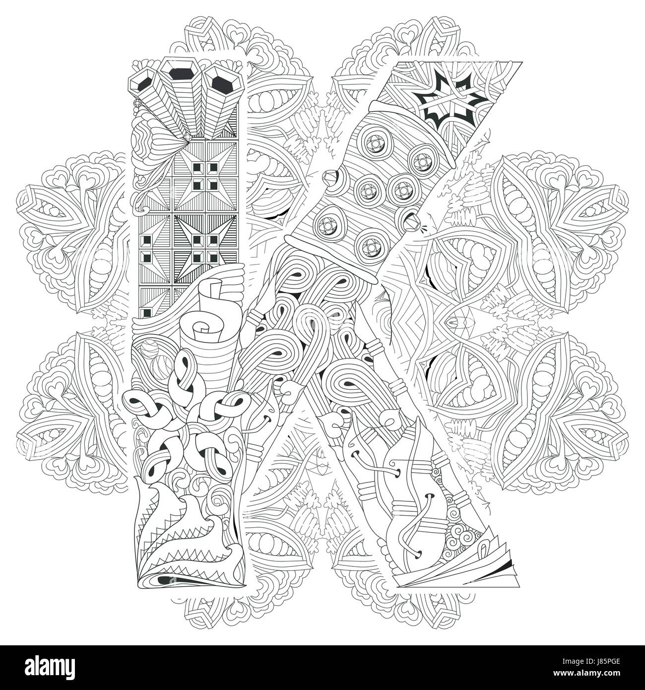 Hand-painted art design. Adult anti-stress coloring page. Black and white hand drawn illustration mandala with letter - Stock Image